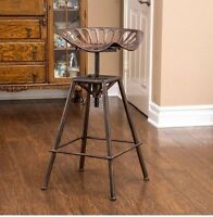 Tractor Seat Bar Stools Swivel Rustic Metal Iron Counter Height Adjustable Home