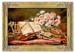 Gemaelde-Musikinstrumente-Handarbeit-Olbild-Bild-Olbilder-Rahmen-Bilder-G01685