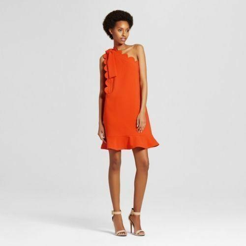 Victoria Beckham for Target Orange Dress One Shoulder Plus Size 2x Bow