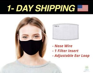 Mask Filter 100 Cotton 4 Layers Face Mask With Filter Pocket Nose Wire Ebay