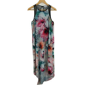 Wayne-Cooper-Womens-Dress-Size-12-Multicolored-Floral-Sleeveless-High-Low