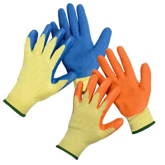 3bd060470 12 X Pairs Latex Rubber Work Gloves Gardening DIY Builders Garden  Protective L