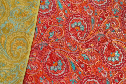 Colorful Paisley Faux Silk Brocade Jacquard Damask Kimono Fabric Material BL18