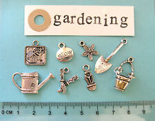 8 tibetan silver gardening charms shed watering can bucket spade flower pot
