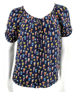 Joie-Blouse-Womens-XS-Cocktail-Drink-Print-Silk-Navy-Blue-Top-Button-Front