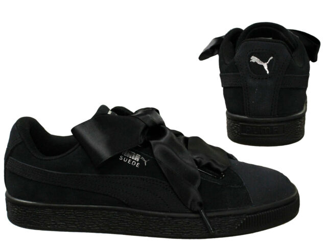 buy popular 35e84 cc621 Puma Suede Heart Pebble Lace Up Womens Low Top Trainers Black 365210 04 D20
