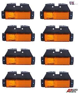 8X-LED-LIGHTS-SIDE-MARKER-ORANGE-AMBER-AMBER-TRAILER-TRUCK-LORRY-RECOVERY-12-24V