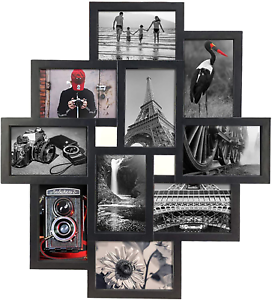 10 Opening 4x6 Black Collage Picture Frame Wall Hanging for 4 by 6 inch Multiple