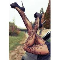 Sexy Women Black Jacquard Lace Fishnet Pantyhose Tights Stockings Hosiery