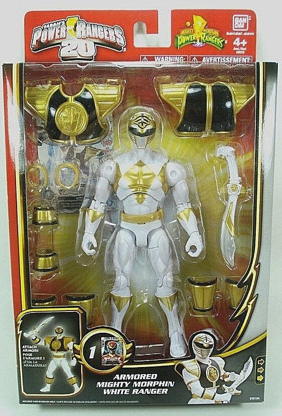 Power Rangers 20th aniversario _ blindado Mighty Morphin Ranger 7  figura _ Mib blancoo