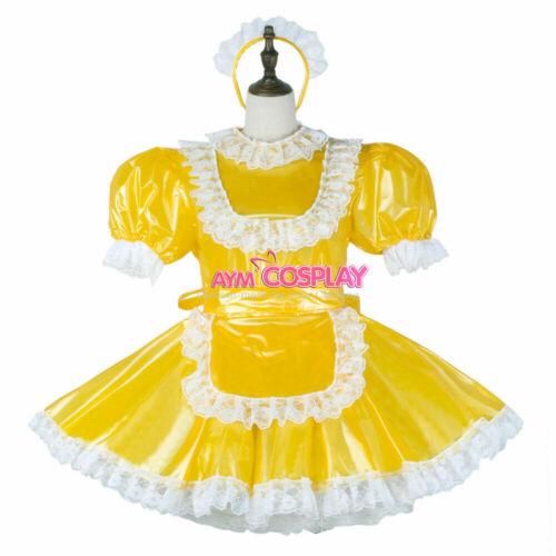 PVC sissy maid mini dress lockable cross dressers Tailor-made