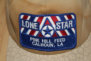 Lone-Star-Feed-And-Fertilizer-Trucker-Patch-Hat-Snapback-Tan-K-Products-USA