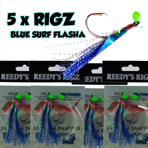 5x Snapper Rig Paternoster Rig Tied 27kg Leader Twin Hook Rigs Fishing