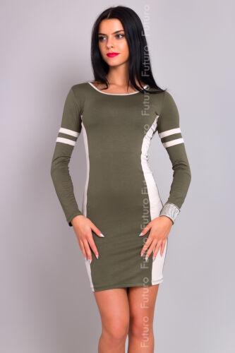 Ladies Mini Dress Crew Neck Bodycon Long Sleeve Pencil Tunic One Size 8-12 8140