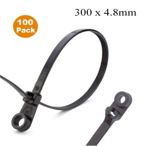 100 x Black Screw Mount Cable Ties 300mm x 4.8mm Car Chassis Body Zip Tie Fixing