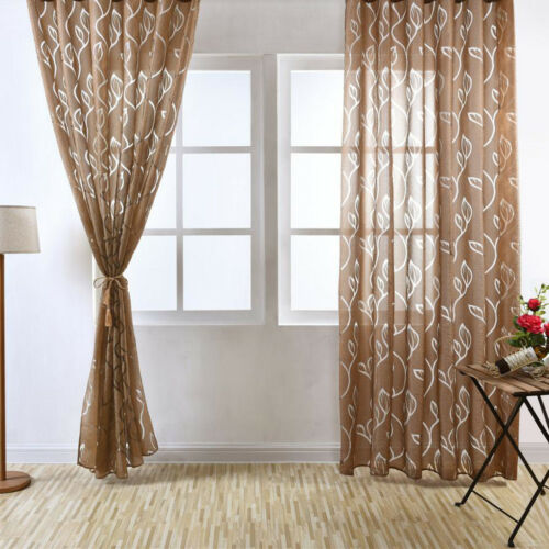 2Pcs Bubble Leaf Pattern Window Sheer Curtain for Bedroom Living Room 100x270cm