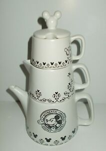 AUTHENTIC-DISNEY-PARKS-CERAMIC-STACKABLE-CREAMER-SUGAR-BOWL-amp-TEAPOT-SET-NEW