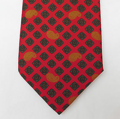 Jean Latour Paisley tie 1980s all silk red with squares and motif pattern