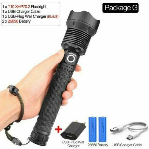 Super helle xhp70 led taschenlampe wiederaufladbare taste zoomable taschenlampe
