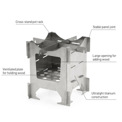 Lightweight Titanium Folding Wood Stove for Backpacking Outdoor Camping J8X0