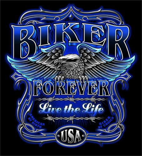 BIKER FOREVER LIVE THE LIFE TEE SHIRT SIZE XL adult T273  tshirt NEW mens womens
