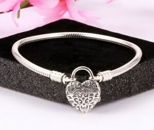 Steriling-Silver-Bracelet-Regal-Love-Heart-Clasp-Snake-Chain-Bracelet-For-Charms