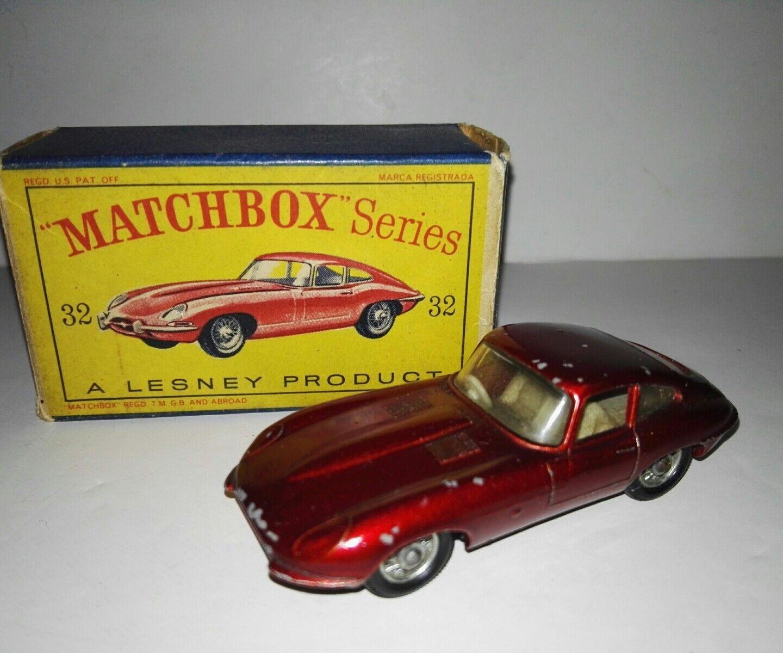 Matchbox 32b jaguar e type by lesney with original box 1962-68 very rare