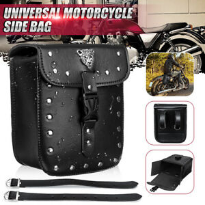 Motorcycle-Front-Rear-Fork-Tool-Pouch-Side-Bag-Saddlebag-PU-Leather-Universal