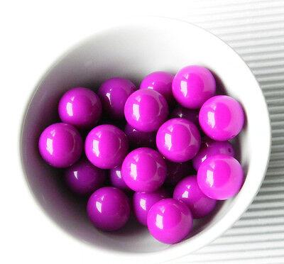 20mm Dark Magenta Purple Bubblegum Beads Summer Necklace Round Smooth Lot Of 10