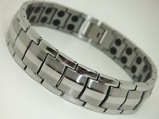 Mens Stainless Steel Magnetic Bracelet In Gift Pouch 42 Magnets Arthritis Aid