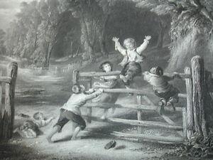 """Frugal Gravure 1860 """" Plus Heureux Qu'un Roi """" W.collins 370x260 Ventes Bon Marché"""