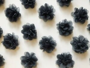 Wholesale-Retail-Lot-20-Gray-Chiffon-Flower-Hairbows-Hair-Bows-Resale-Clips-NEW