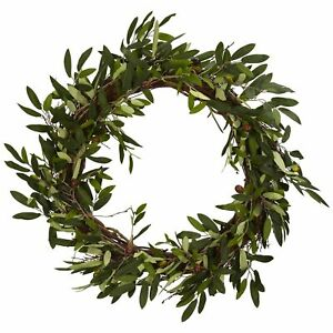 Nearly Natural 20in Olive Wreath, Green