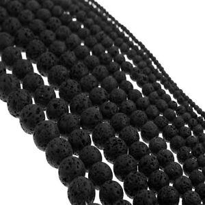 Lava Perlen Natürliche Edelstein 8mm Schwarz  50stk Schmuck Naturstein L2