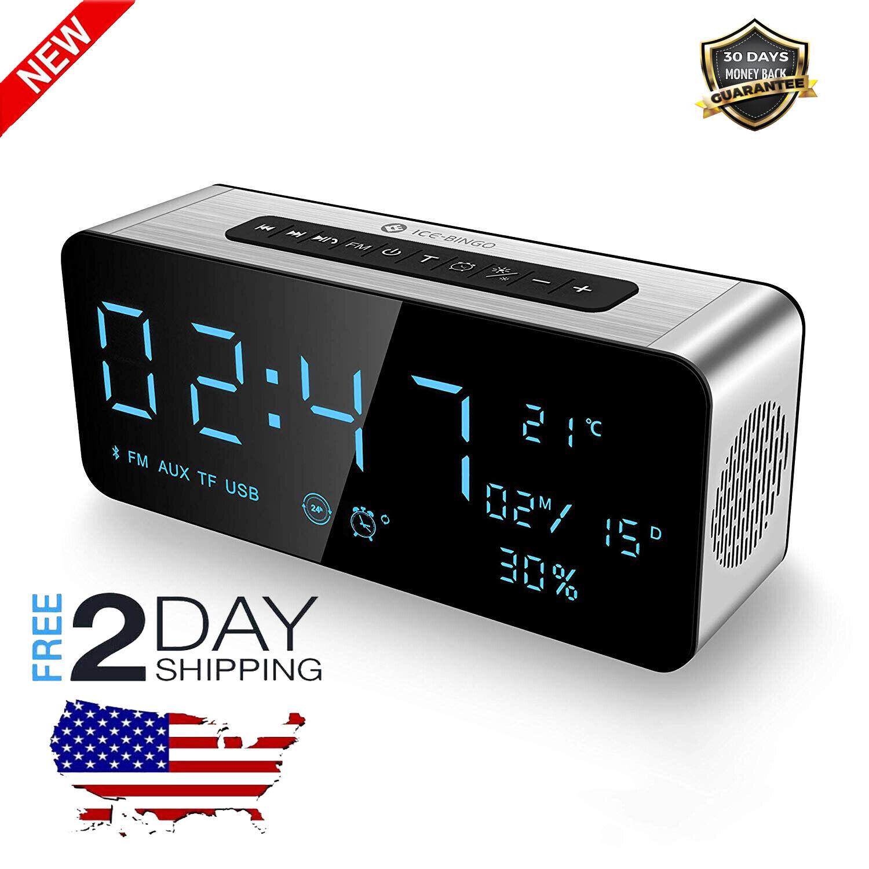 Radio Reloj Despertador Digital Con Altavoz blueetooth, Carga USB,AUX,Temperatura
