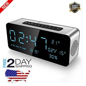 Radio Reloj Despertador Digital Con Altavoz Bluetooth Carga Usb Aux Temperatura 712640413637 Ebay