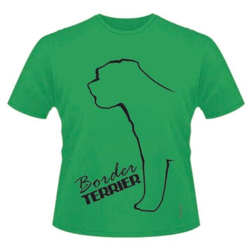 Round-Neck Style Dogeria Outline Design Dog Breed T-Shirts Border Terrier