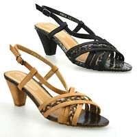 Ladies Womens Mid Heel Open Toe Slingback T-Bar Strappy Sandals Court Shoes Size