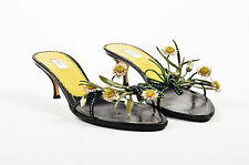 Prada Black Green White Floral Embellished Slip On Sandal Heels SZ 38.5