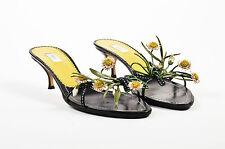Prada Black Green White Floral Embellished Slip On Sandal Heels SZ 38.5