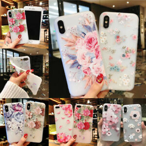 For-iPhone-Samsung-S9-8-S10e-Cute-Rubber-Soft-Silicone-Pattern-Flower-Case-Cover