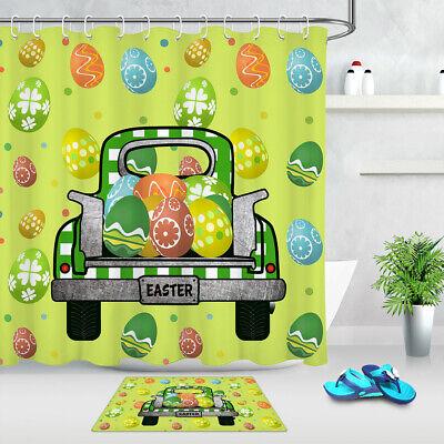 Green Truck Easter Egg Butterfly Fabric Shower Curtain Set Bathroom Decor Hooks
