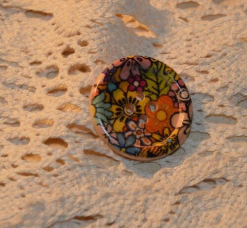 Motif Floral Fleurs Bois Bouton Boutons 3 cm 5 pièces NEUF