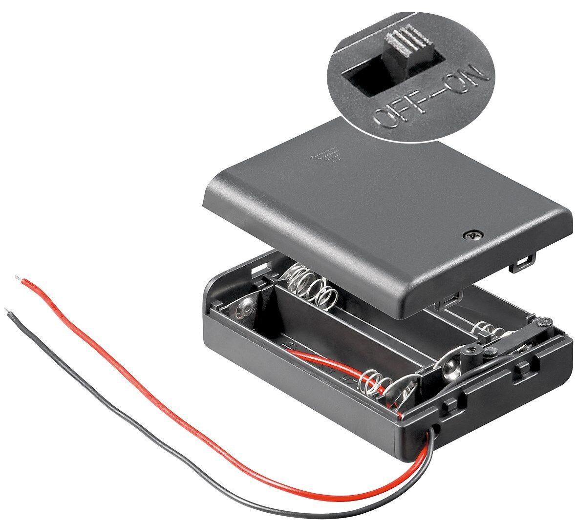 3x AA(Mignon) Batteriehalter -lose Kabelenden,wasserabweisend, schaltbar (50St.) | Deutschland Shops
