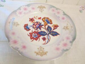 9-1-4-034-Open-Handle-Serving-Plate-Platter-Germany-Orange-Blue-Floral-Pink-Luster