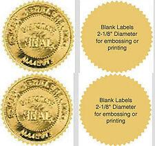 "3000 Serrated Starburst Gold Foil Notary Reward Seal Labels 2.0"" Emboss /Print"