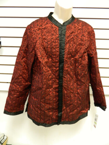 Alfred Dunner Woman New Womens Park Place Red Black Jacket 18W