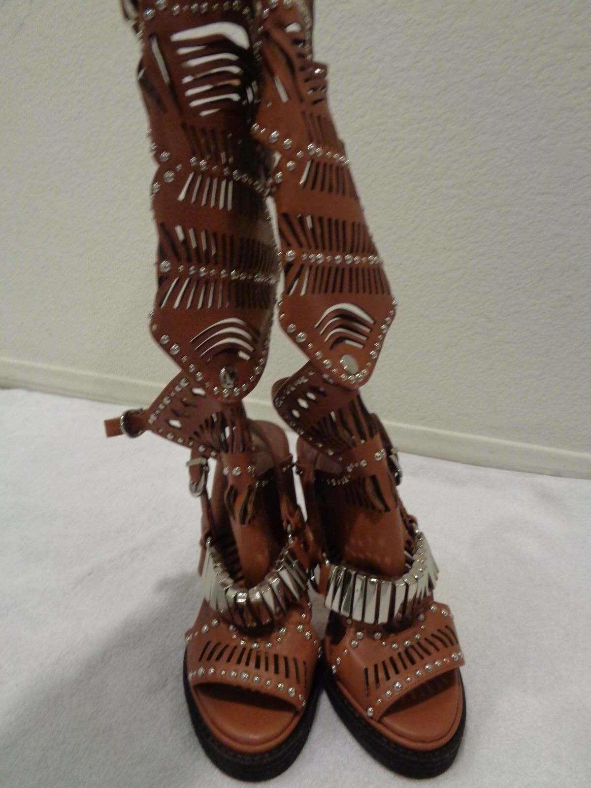 NEW JEFFREY CAMPBELL  290 TAN BELLONA BELLONA BELLONA LEATHER KNEE HIGH SANDALS SHOES SZ 7 e8f197