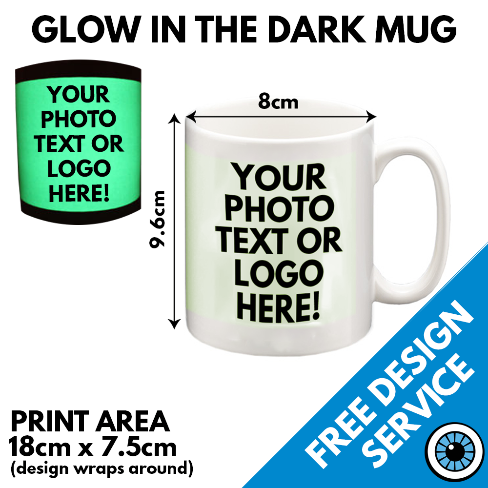 Custom Printed Glow In The Dark Mug • Personalised Print Gift Image Text Mugs