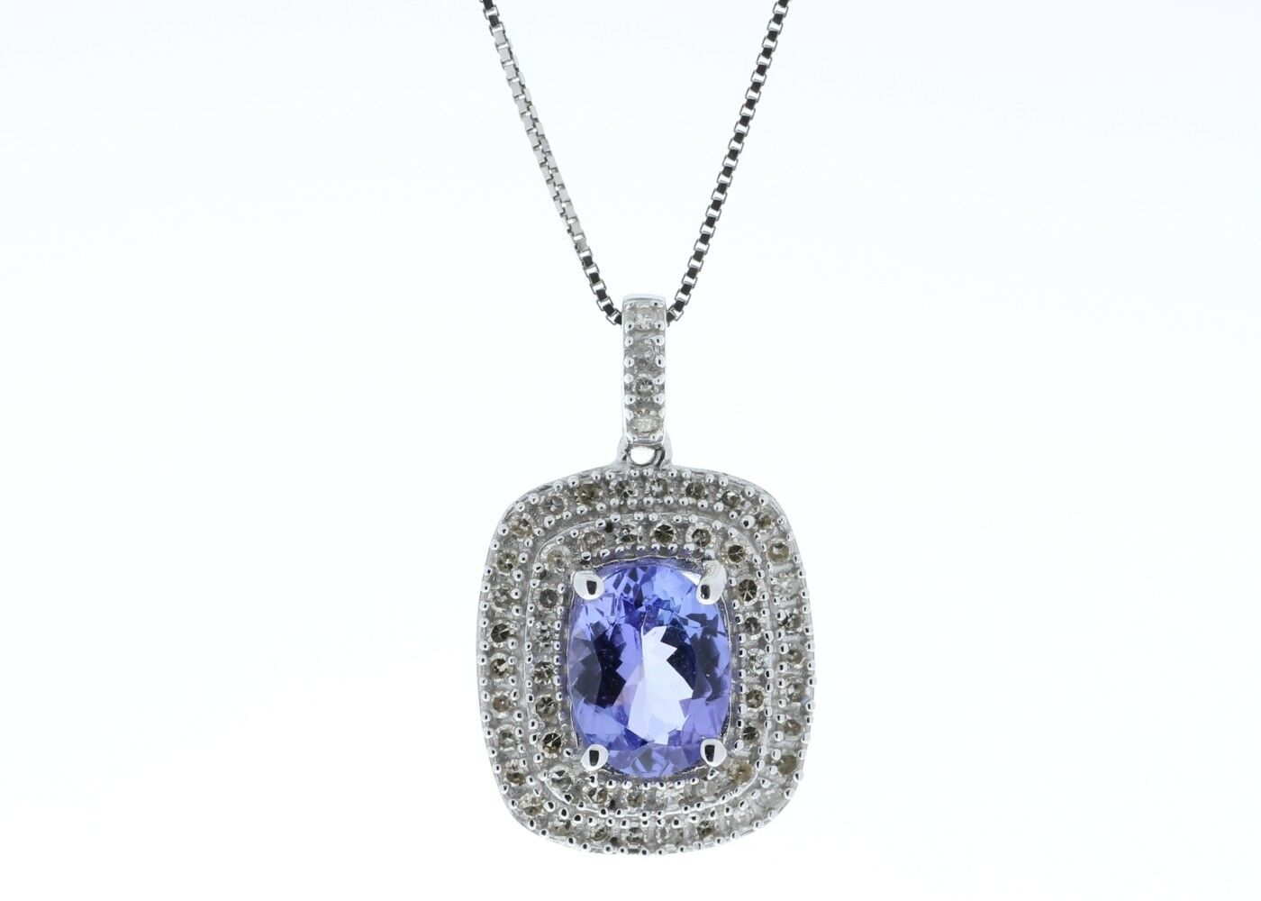 Tanzanite Pendant Diamond 14 Carat White gold. Cert AGI